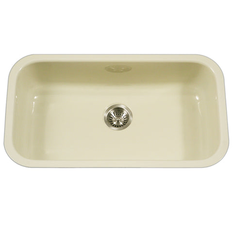 "Houzer 31"" Porcelain Enamel Steel Undermount Kitchen Sink, Biscuit, PCG-3600 BQ"