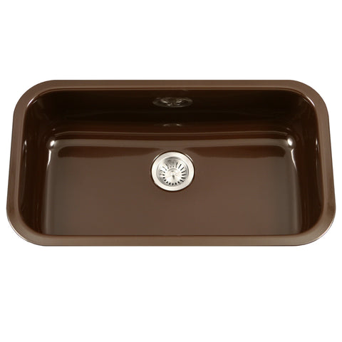 "Houzer 31"" Porcelain Enamel Steel Undermount Single Bowl Kitchen Sink, Brown, PCG-3600 ES"