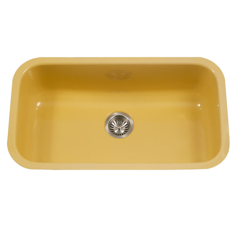 "Houzer 31"" Porcelain Enamel Steel Undermount Single Bowl Kitchen Sink, Yellow, PCG-3600 LE"