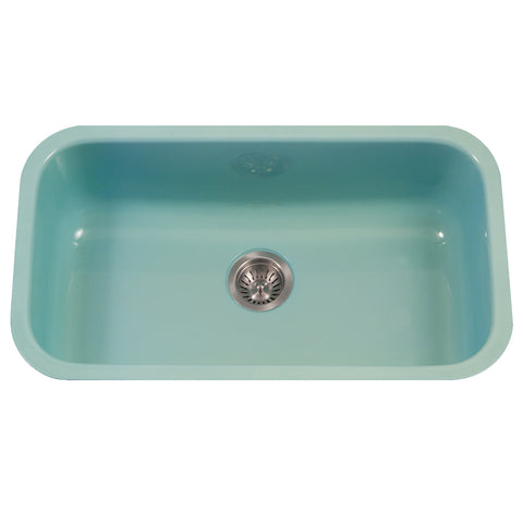 "Houzer 31"" Porcelain Enamel Steel Undermount Single Bowl Kitchen Sink, Green, PCG-3600 MT"