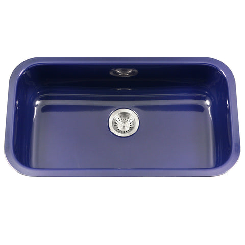 "Houzer 31"" Porcelain Enamel Steel Undermount Single Bowl Kitchen Sink, Blue, PCG-3600 NB"