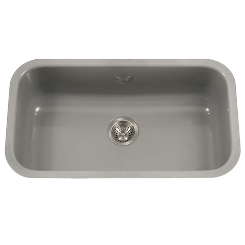 "Houzer 31"" Porcelain Enamel Steel Undermount Single Bowl Kitchen Sink, Gray, PCG-3600 SL"