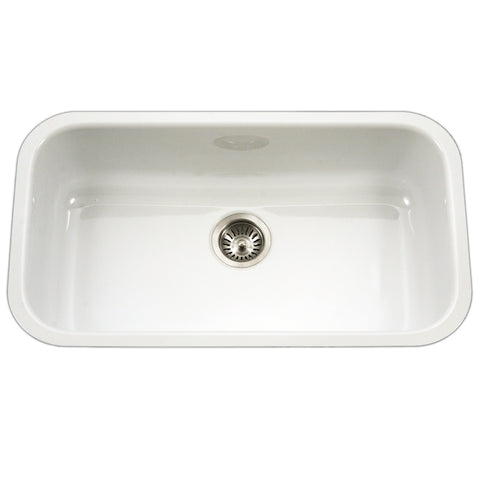 "Houzer 31"" Porcelain Enamel Steel Undermount Single Bowl Kitchen Sink, White, PCG-3600 WH"
