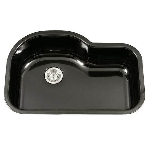 "Houzer 31"" Porcelain Enamel Steel Undermount Single Bowl Kitchen Sink, Black, PCH-3700 BL"