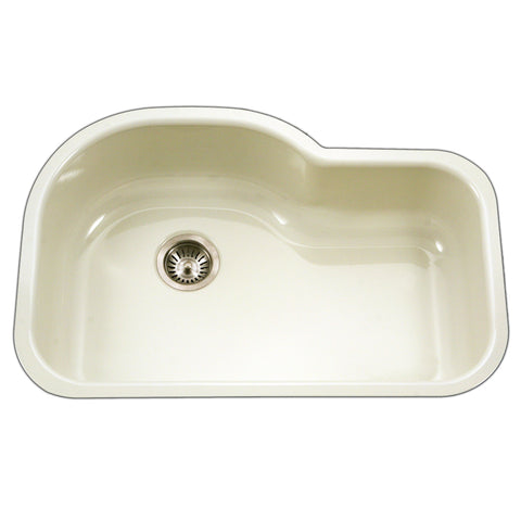 "Houzer 31"" Porcelain Enamel Steel Undermount Kitchen Sink, Biscuit, PCH-3700 BQ"