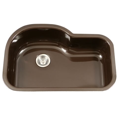 "Houzer 31"" Porcelain Enamel Steel Undermount Single Bowl Kitchen Sink, Brown, PCH-3700 ES"