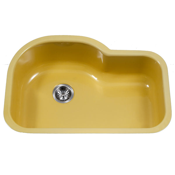"Houzer 31"" Porcelain Enamel Steel Undermount Single Bowl Kitchen Sink, Yellow, PCH-3700 LE"
