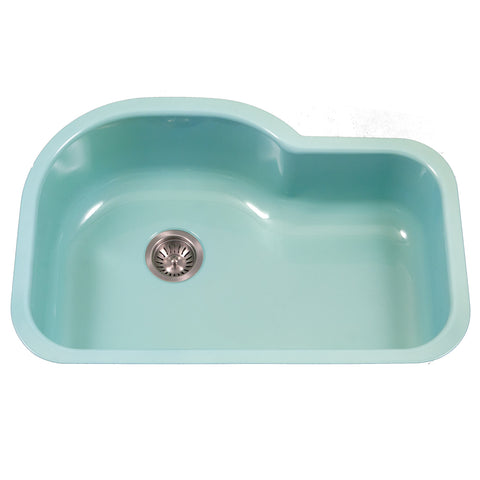 "Houzer 31"" Porcelain Enamel Steel Undermount Single Bowl Kitchen Sink, Green, PCH-3700 MT"