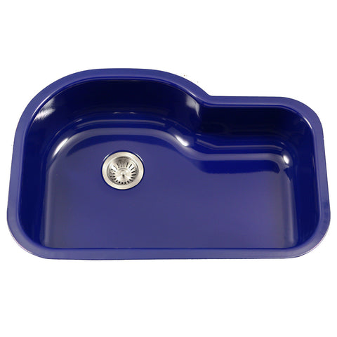 "Houzer 31"" Porcelain Enamel Steel Undermount Single Bowl Kitchen Sink, Blue, PCH-3700 NB"