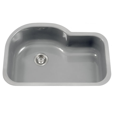 "Houzer 31"" Porcelain Enamel Steel Undermount Single Bowl Kitchen Sink, Gray, PCH-3700 SL"
