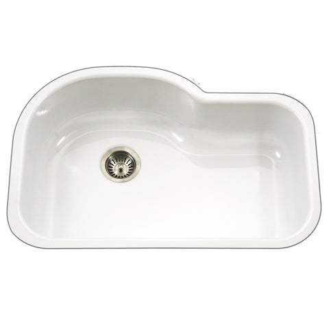 "Houzer 31"" Porcelain Enamel Steel Undermount Single Bowl Kitchen Sink, White, PCH-3700 WH"