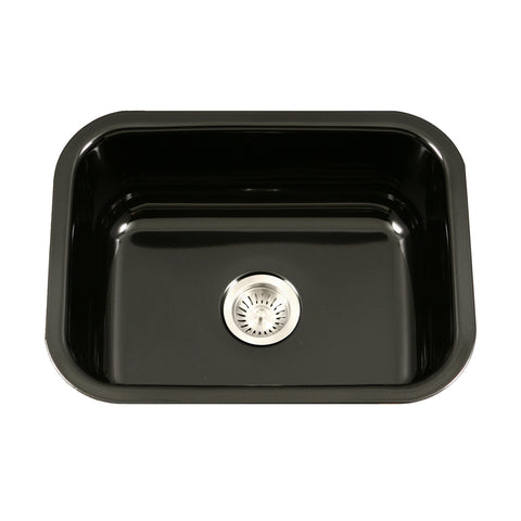 "Houzer 23"" Porcelain Enamel Steel Undermount Single Bowl Kitchen Sink, Black, PCS-2500 BL - The Sink Boutique"