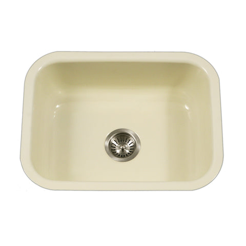 "Houzer 23"" Porcelain Enamel Steel Undermount Kitchen Sink, Biscuit, PCS-2500 BQ - The Sink Boutique"