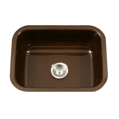 "Houzer 23"" Porcelain Enamel Steel Undermount Single Bowl Kitchen Sink, Brown, PCS-2500 ES - The Sink Boutique"