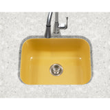 "Houzer 23"" Porcelain Enamel Steel Undermount Single Bowl Kitchen Sink, Yellow, PCS-2500 LE - The Sink Boutique"