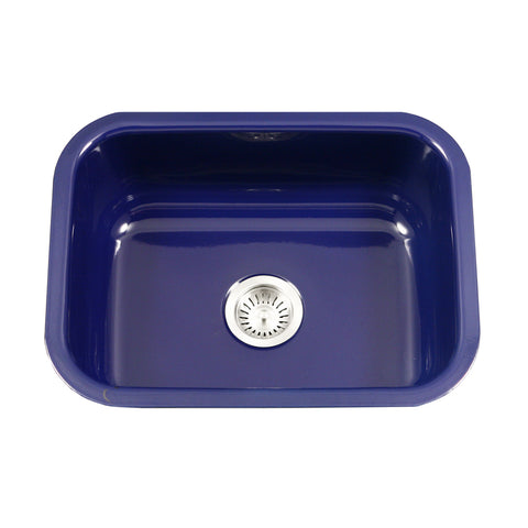 "Houzer 23"" Porcelain Enamel Steel Undermount Single Bowl Kitchen Sink, Blue, PCS-2500 NB - The Sink Boutique"