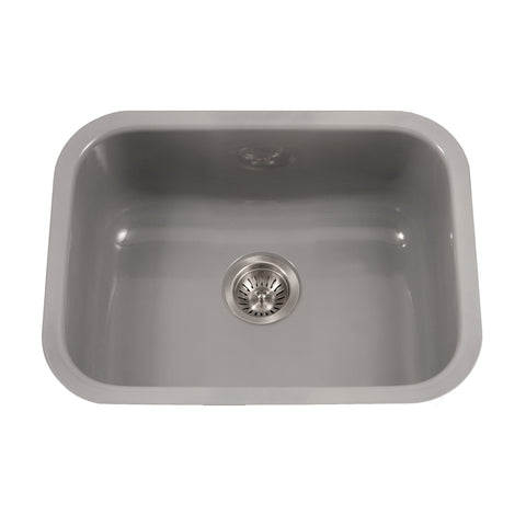 "Houzer 23"" Porcelain Enamel Steel Undermount Single Bowl Kitchen Sink, Gray, PCS-2500 SL - The Sink Boutique"