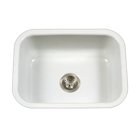 "Houzer 23"" Porcelain Enamel Steel Undermount Single Bowl Kitchen Sink, White, PCS-2500 WH - The Sink Boutique"