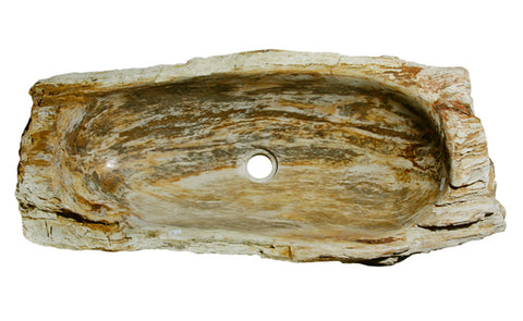 "30"" Petrified Wood Stone Vessel Sink, Beige, Brown - The Sink Boutique"
