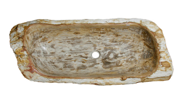 "39"" Petrified Wood Stone Vessel Sink, Cream, Red Orange - The Sink Boutique"