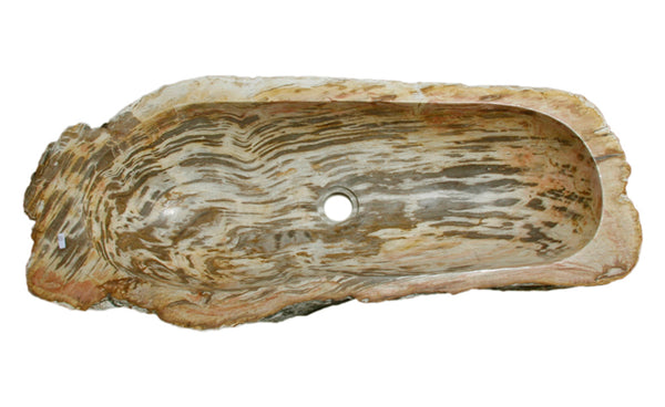 "32"" Petrified Wood Stone Vessel Sink, Beige, Red Orange - The Sink Boutique"