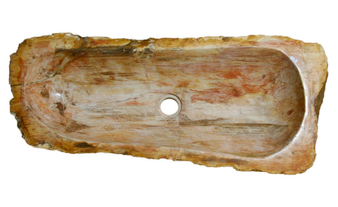 "29.5"" Petrified Wood Stone Vessel Sink, Red Orange - The Sink Boutique"