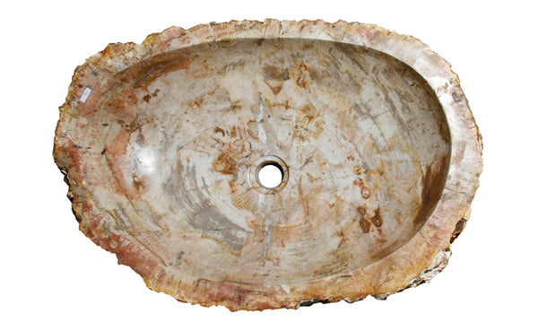 "24"" Petrified Wood Stone Vessel Sink, Cream, Red Orange - The Sink Boutique"