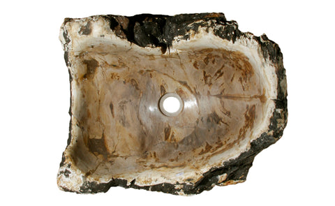 "20.5"" Petrified Wood Stone Vessel Sink, Beige, Brown - The Sink Boutique"