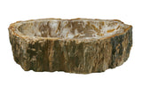 "21"" Petrified Wood Stone Vessel Sink, Oval, Brown, Cream - The Sink Boutique"