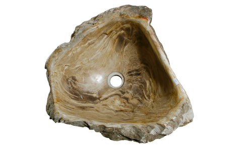 "18.5"" Petrified Wood Stone Vessel Sink, Beige, Taupe - The Sink Boutique"