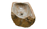 "25"" Petrified Wood Stone Vessel Sink, Rectangle, Cream, Orange - The Sink Boutique"
