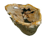 "32"" Petrified Wood Stone Vessel Sink, Beige, Brown - The Sink Boutique"