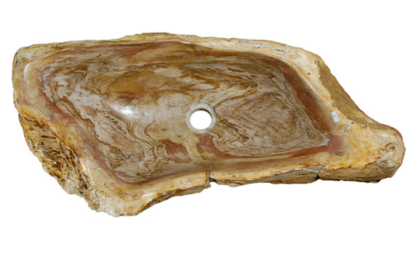 "29"" Petrified Wood Stone Vessel Sink, Red Orange - The Sink Boutique"