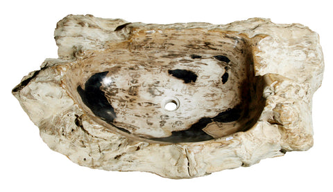 "37.5"" Petrified Wood Stone Vessel Sink, Black - The Sink Boutique"