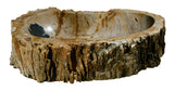 "22.5"" Petrified Wood Stone Vessel Sink, Beige, Black - The Sink Boutique"