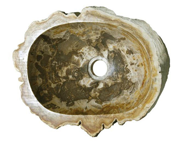 "14"" Petrified Wood Stone Vessel Sink, Oval, Brown, Taupe - The Sink Boutique"