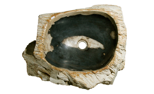 "21"" Petrified Wood Stone Vessel Sink, Black - The Sink Boutique"