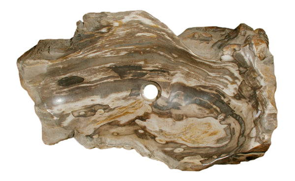 "30.5"" Petrified Wood Stone Vessel Sink, Brown, Taupe - The Sink Boutique"