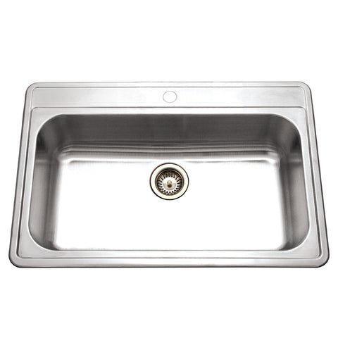 "Houzer 33"" Stainless Steel Topmount Large Single Bowl Kitchen Sink, PGS-3122-1-1"