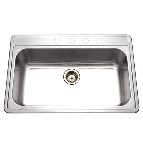 "Houzer 33"" Stainless Steel Topmount Large Single Bowl Kitchen Sink, PGS-3122-4-1"