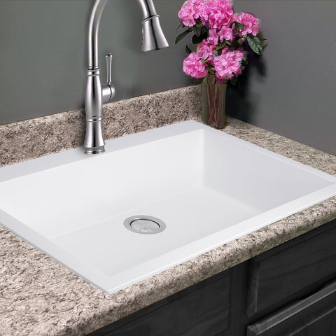 "Nantucket Sinks Plymouth 30"" Granite Composite Kitchen Sink, White, PR3020-DM-W"