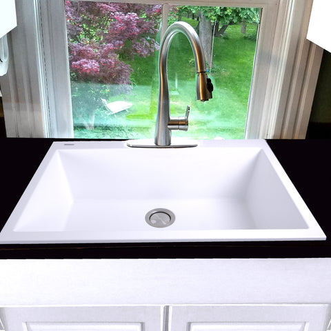 "Nantucket Sinks Plymouth 33"" Granite Composite Kitchen Sink, White, PR3322-DM-W"