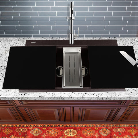 "Nantucket Sinks Plymouth 34"" Granite Composite Kitchen Sink, 50/50 Double Bowl, Brown, PR3420PS-BR"