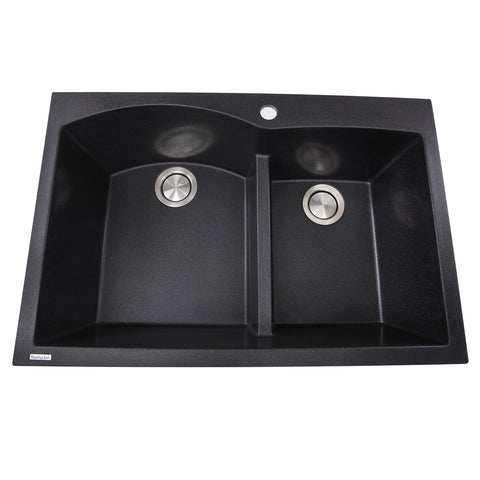 "Nantucket Sinks Plymouth 33"" Granite Composite Kitchen Sink, 60/40 Double Bowl, Black, PR6040-BL"