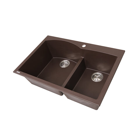 "Nantucket Sinks Plymouth 33"" Granite Composite Kitchen Sink, 60/40 Double Bowl, Brown, PR6040-BR"