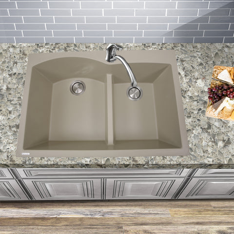"Nantucket Sinks Plymouth 33"" Granite Composite Kitchen Sink, 60/40 Double Bowl, Sand, PR6040-S"