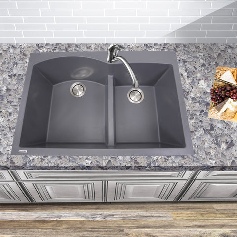 "Nantucket Sinks Plymouth 33"" Granite Composite Kitchen Sink, 60/40 Double Bowl, Titanium, PR6040-TI"