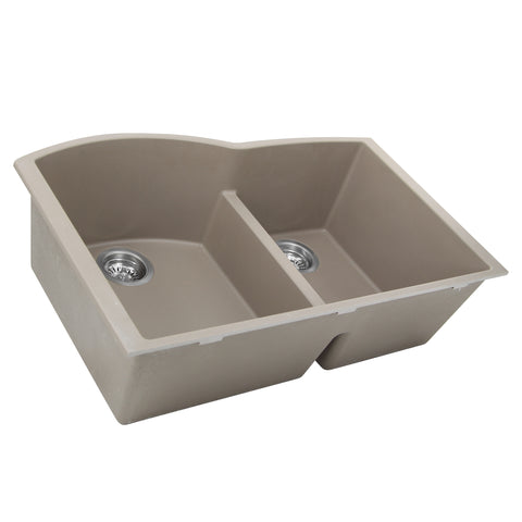 "Nantucket Sinks Plymouth 33"" Granite Composite Kitchen Sink, 60/40 Double Bowl, Truffle, PR6040-TR-UM"