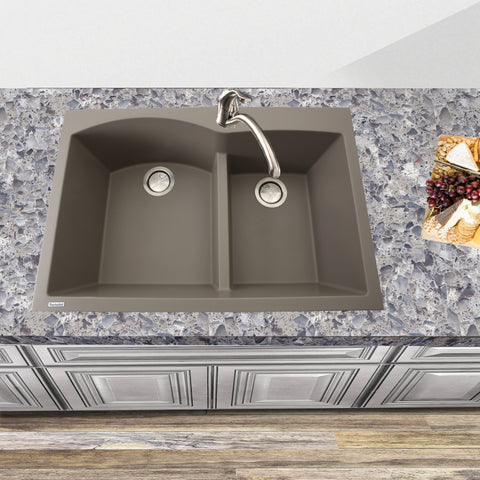 "Nantucket Sinks Plymouth 33"" Granite Composite Kitchen Sink, 60/40 Double Bowl, Truffle, PR6040-TR"