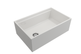 "BOCCHI Contempo 30"" Fireclay Farmhouse Apron Single Bowl Kitchen Sink, White, 1344-001-0120 